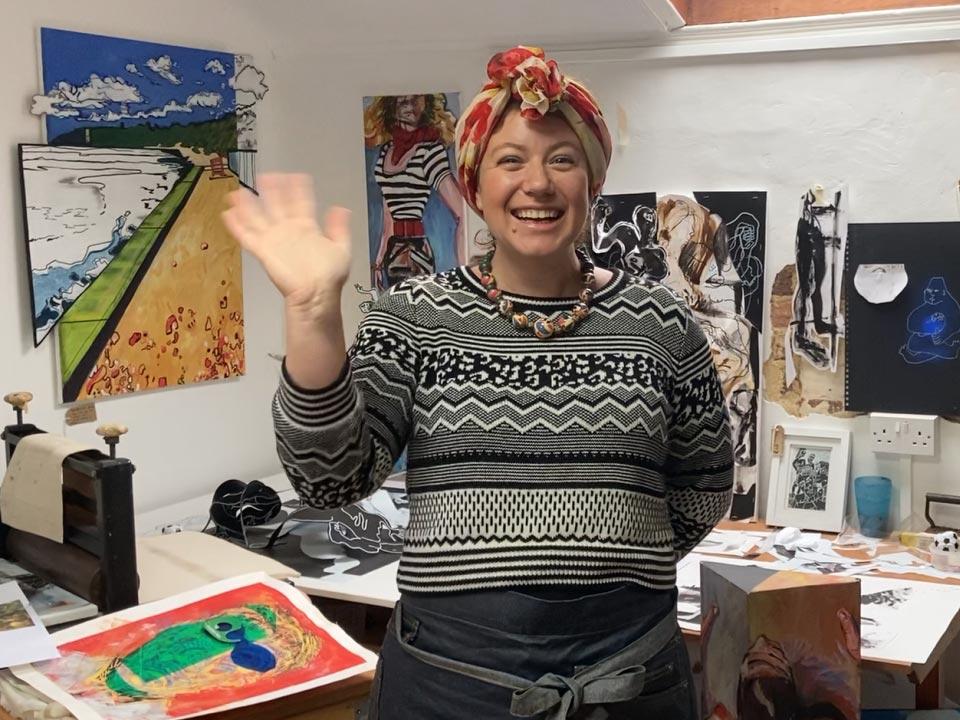 person in an art studio