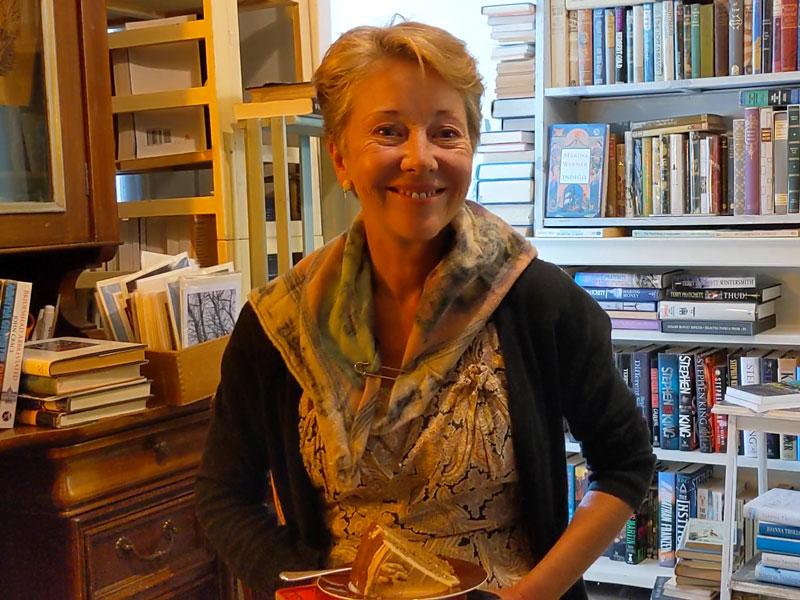 person in bookshop